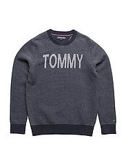 TOMMY STRIPE CN SWEA - BLACK IRIS