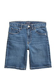 RANDY RELAXED SHORT, - CLIFTON MID BLUE STRETCH