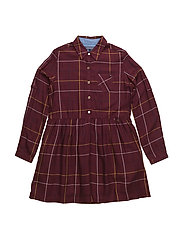 WINDOWPANE CHECK SHIRT DRESS L/S - BROWN