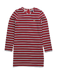 STRIPED HWK DRESS L/S - RED