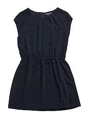 AME LACE MIX DRESS S/S - BLUE