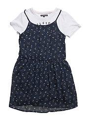 DITSY FLORAL 2 IN 1 DRESS SLVLS - BLUE