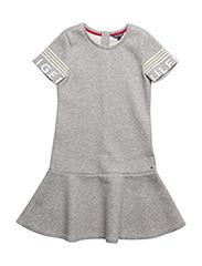 THKG PEPLUM DRESS S/S - GREY