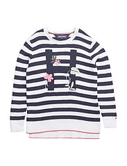 EMBRO STRIPE SWEATER - BLACK IRIS/BRIGHT WHITE