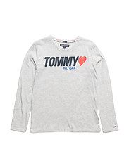 AME TOMMY HEART TEE, - LIGHT GREY HTR