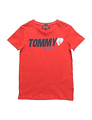 AME TOMMY HEART TEE, - FLAME SCARLET