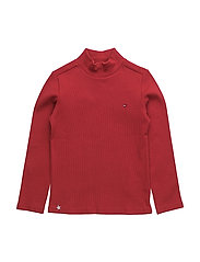 SOLID RIB MINI RN KNIT L/S - RED