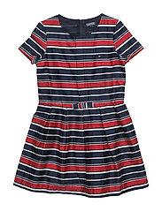 STRIPED COTTON SATEEN MINI DRESS S/ - BLUE