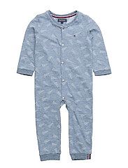 DENIM BABY BOY COVERALL L/S - BLUE