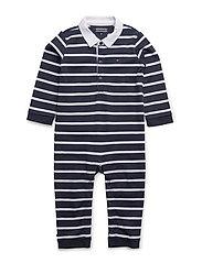 BIG STRIPE BABY BOY COVERALL L/S - BLUE