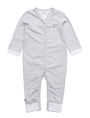 STRIPE JERSEY BABY COVERALL - GREY