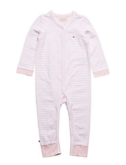 STRIPE JERSEY BABY COVERALL - PINK