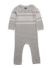 PLACED STRIPE BABY COVERALL L/S - GREY