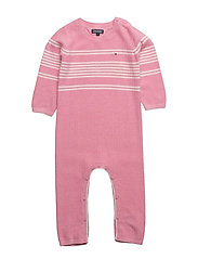 PLACED STRIPE BABY COVERALL L/S - PINK