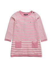 STRIPED BABY SWEATER DRESS L/S - PINK