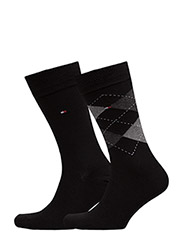 TH Men sock check 2-pack - BLACK