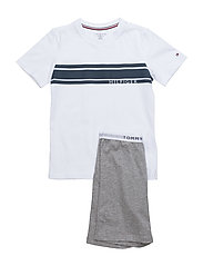 SHORT SET SS LOGO STRIPE - WHITE