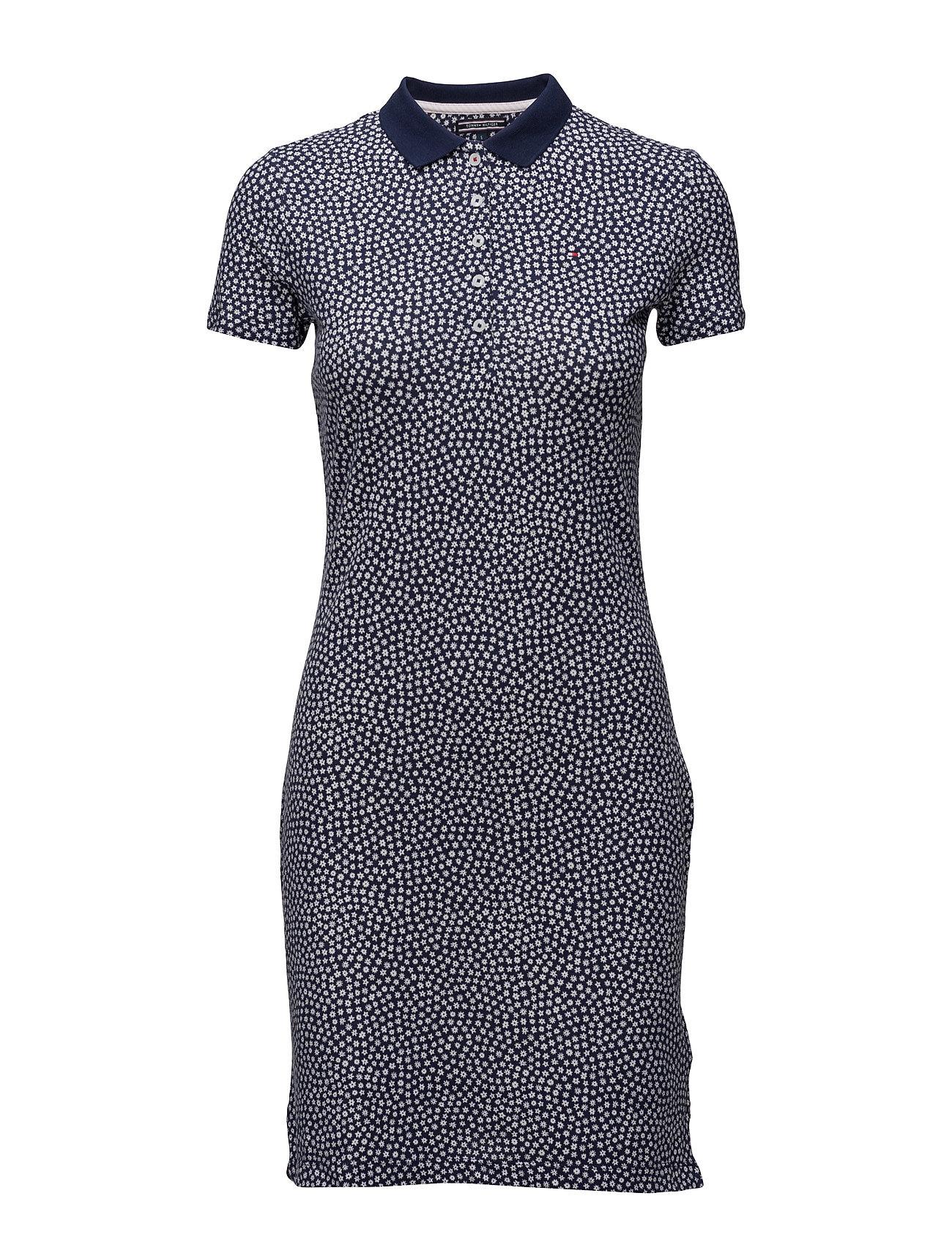 New Chiara Str Pq Polo Dress Ss Tommy Hilfiger Knælange & mellemlange til Damer i Blå