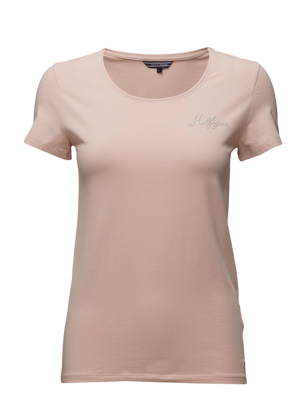 Lizzy Logo Diamante Round-Nk Top Ss Tommy Hilfiger Kortærmede til Damer i Lyserød