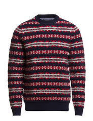 HARRY FAIRISLE C-NK CF - NAVY BLAZER-PT / RIO RED-PT / SNOW WHITE