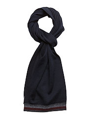 KNITTED CORPORATE STRIPE EDGE SCARF - BLUE