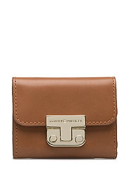 FASHION HARDWARE SMALL FLAP WALLET - BROWN