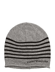 TOMMY STRIPE BEANIE - GREY