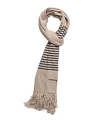 TOMMY FRINGE KNIT SCARF - BLUE