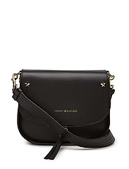 CITY LEATHER SADDLE BAG - BLACK