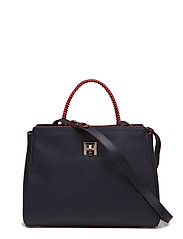 TH TWIST LEATHER MED - TOMMY NAVY