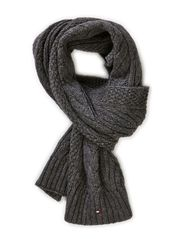 CABLE SCARF - CHARCOAL HTR