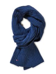 CABLE SCARF - INSIGNIA BLUE HEATHER