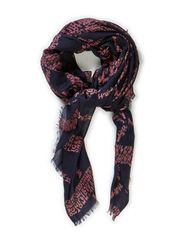 ICON CHECK SCARF - CORE NAVY / CABERNET