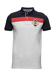 MILES PCD POLO S/S SF - CLASSIC WHITE/ MARS RED / MIDN
