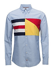 PLACED CHEST FLAG OX - SHIRT BLUE / MULTI
