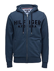 LOGO ZIP HOODY, 414, - DARK DENIM