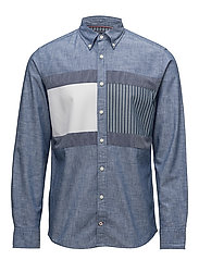 FLAG PATCHWORK SHIRT - INDIGO