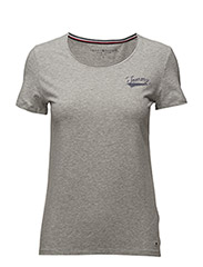 LIZZY LOGO DIAMANTE ROUND-NK TOP SS - GREY