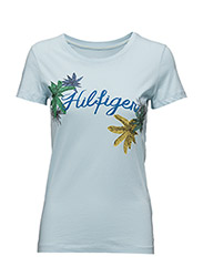INJ PLACEMENT PALM LEAF PRT TEE SS - BLUE