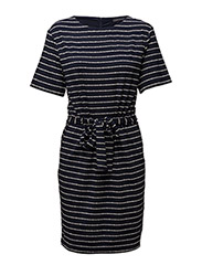 RAE PRT BOAT-NK DRESS 1/2 SLV - BLUE