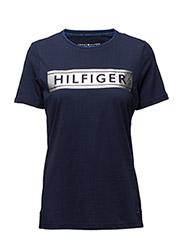 HILFIGER FOIL PRT TEE SS - BLUE