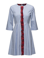 JESSICA OXFORD DRESS 3/4 SLV - BLUE