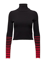 GIGI HADID CROP RIB HIGH-NK SWTR - BLACK