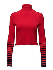 GIGI HADID CROP RIB HIGH-NK SWTR - RED