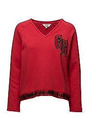 GIGI HADID V-NK SWEATSHIRT - RED