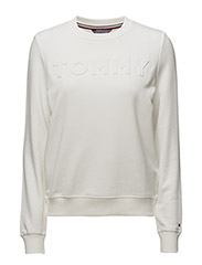 TOMMY EMBOSSED C-NK SWEATSHIRT LS - WHITE