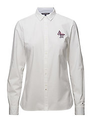 KIM OXFORD SHIRT LS, - CLASSIC WHITE