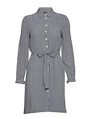 MARIE SHIRT DRESS LS - PEACOAT / CLASSIC WHITE STP