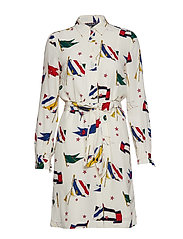 MARIE SHIRT DRESS LS - TOMMY FLAG PRT / WHISPER WHITE
