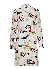 MARIE SHIRT DRESS LS - TOMMY FLAG PRT / WHISPER WHITE